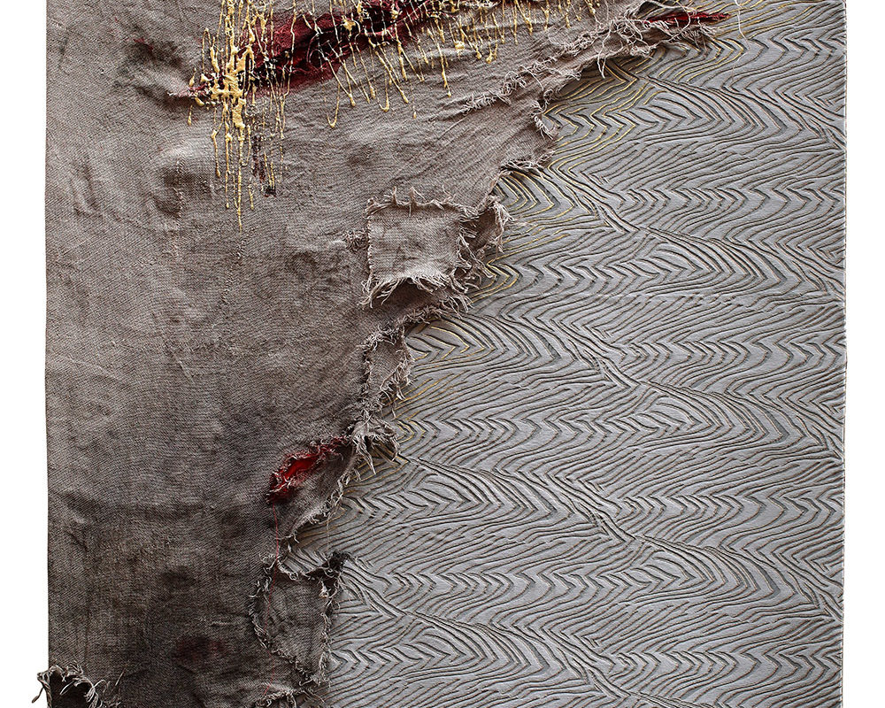 Clash of classes, 2014_Linen, brocade fabric (designer Galitzine, not signed), silk, latex_100 x 142 cm