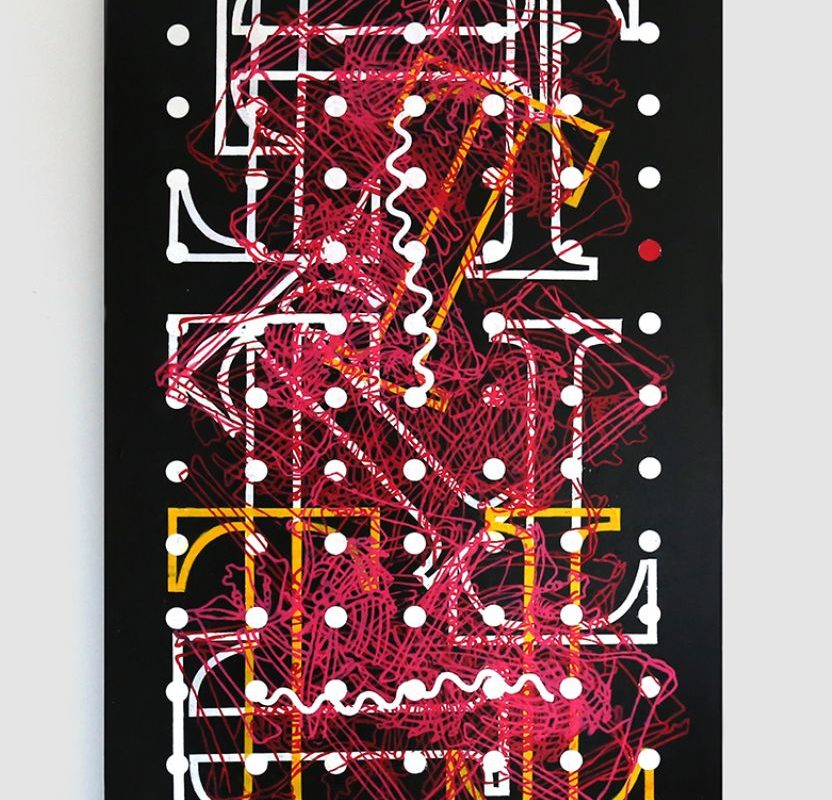 Interference 3, , 2017_Acrylic screenprint and oil on canvas_152.4 x 91.4 x 7.6 cm
