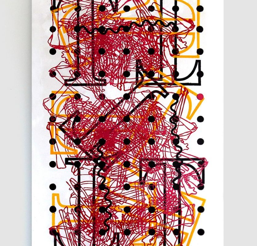 Interference 6, , 2017_Acrylic screenprint and oil on canvas_152.4 x 91.4 x 7.6 cm