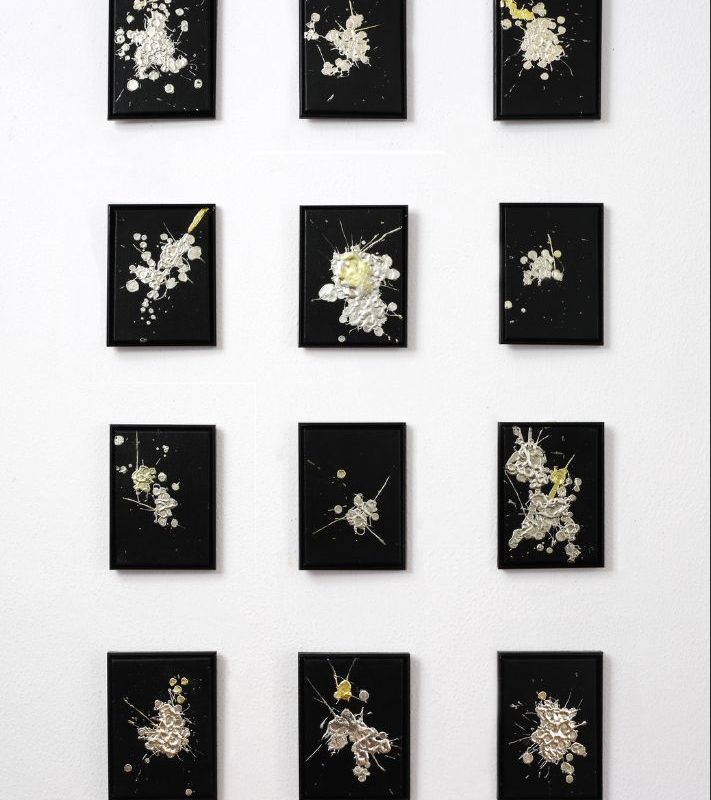 Tania Welz Drop by Drop, 2019_Acrylic, natural resin and real gold leaf (13, 16, 19, 20 carats) on canvas_22 x16 cm