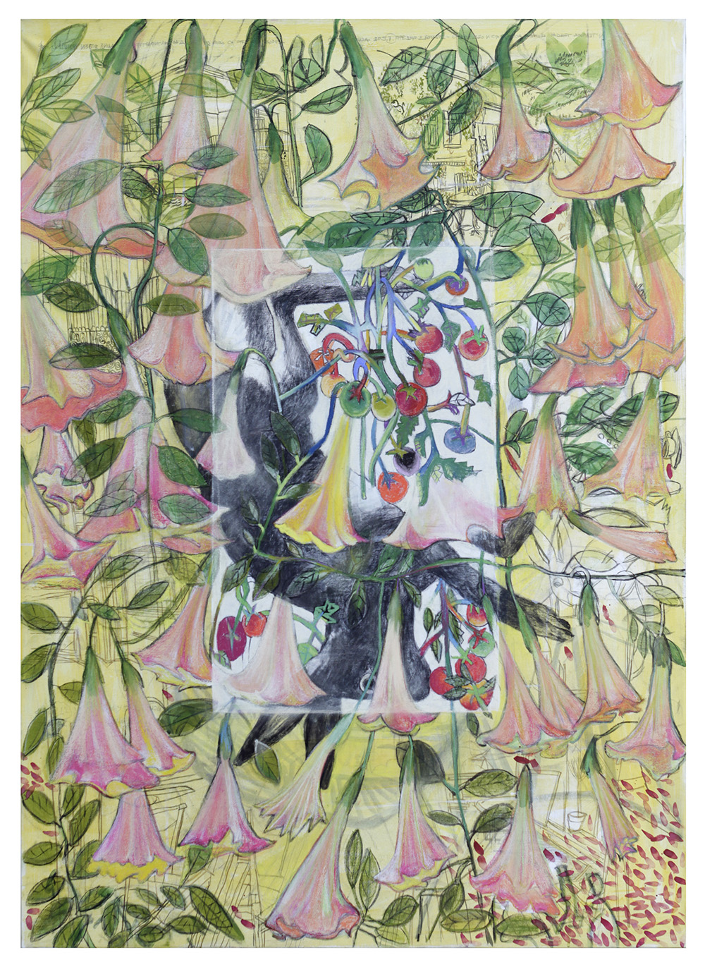 From Picasso's planter (Brugmansia), 2018_Mixed media on canvas_140 x 100 cm
