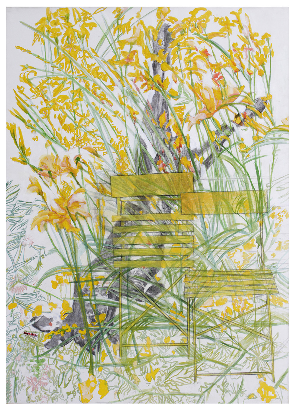 Hemerocallis fulva (two yellow chairs), 2018_Mixed media on canvas_140 x 100 cm