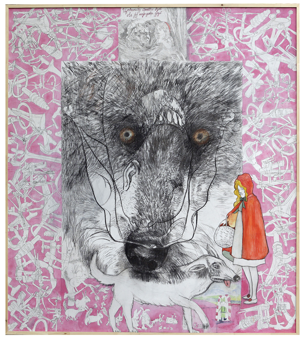 The Wolf Strolls With Little Red Riding Hood, But He Is Not A True Friend, 2018_Mixed media on canvas_180 x 160 cm
